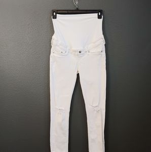 H&M Skinny Maternity Distressed White Jeans